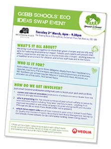 Greener & Cleaner (Bromley & Beyond) flyer for Schools eco tips swap event