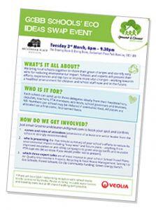 Greener & Cleaner (Bromley & Beyond) flyer for Schools eco tips swap event